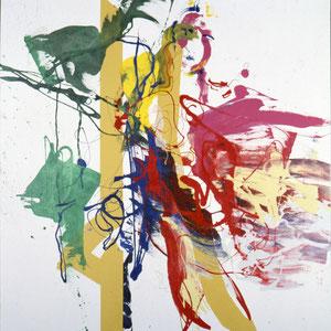 带着黄狗的一对, 1986,丙烯颜料、醇酸树脂釉,于画布,180 x 180 cm, 私人收藏,日本