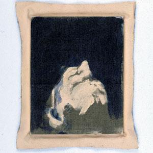 Hommage à  Léon Tolstoï (Guerre et paix), 1992, jeu d'enduit et colle de peau sur toile agrafée sur un châssis de 30 x 24 cm et débordant de 2 à 3 cm sur le pourtour, Collection particulière, Paris