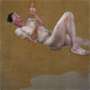 """Hommage à Rainer Maria Rilke, """"Devant de l'indéterminé"""", 2012, fusain et pastel broyé, colle de peau colorée, huile sur toile, 160 x 160 cm."""