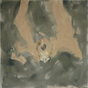 Bilboquet, 2006 - 2011, pastel, colle de peau coloré et huile sur toile, 120 x 120 cm.