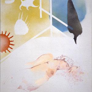 Le rêve, 1987, peinture aérosol et tempera sur toile, 130 x 97,5 cm, Collection particulière, France.