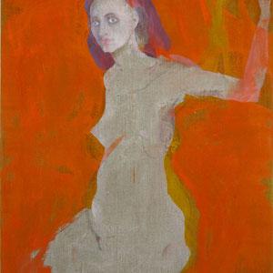 Etude de femme, 2006-2012 (polyptyque n° 5, Nuire est un désir), pastel et colle de peau colorée, huile sur toile, 146 x 97 cm.