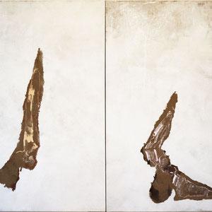 Diptyque, 1993, Jeu d'enduit, colle de peau et technique mixte sur toile, 2 x 240 x 160 cm.