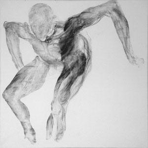 Etude pour un danseur, Variation 1, 2007…, fusain sur papier marouflé sur toile, 100 x 100 cm.