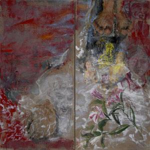 双连画,2002–2005,炭笔、彩色皮胶、油画颜料,于画布,2 x 100 x 50 cm