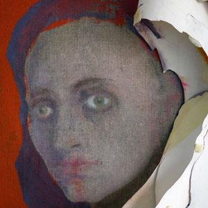 Détail, travail en cours, papier Ingres détourant un visage de femme, huile sur toile, 2012