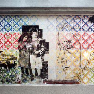 1988 - Peinture, installation et tapisserie de film plastique, Ecole maternelle, Yves Grange architecte, Saint Rambert d'Albon, France.