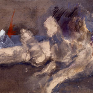 Tendre dévastation, 1992, jeu d'enduit, colle de peau et technique mixte sur toile, 89 X 116 cm, Collection particulière, France.