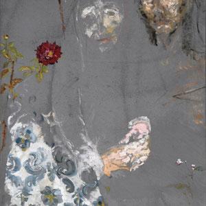 Etude pour une Ste Anne et un St Sébastien, 2003, enduit gris à la caséine et huile sur toile, 95 x 70 cm.