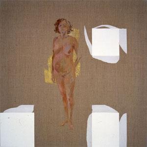 L'attente, 1986, jeu d'enduit acrylique et tempera sur toile, 100 x 100 cm.