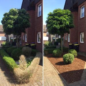 Gartengestaltung in Marl - Rindenmulch inkl. Bodengewebe.