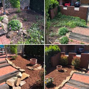 Gartengestaltung in Marl - Pinienrinde inkl. Bodengewebe mit Natursteinen.