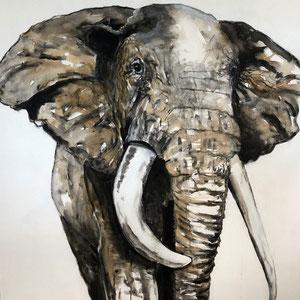 Elefant #1,  Acryl, Kaffee und Kohle auf Leinwand, 100x100cm    - Preis auf Anfrage