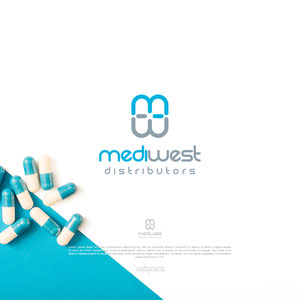 "Logo for a pharmaceutical distribution company.  1. The symbol represents pills.  2. The pills are made from the first letters of the words ""medi"" and ""west""  3. Inside the pills, there is a stylised cross, the symbol of the pharmacy!"