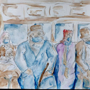 """D'après Honoré Daumier - """"Transport en commun..."""""""