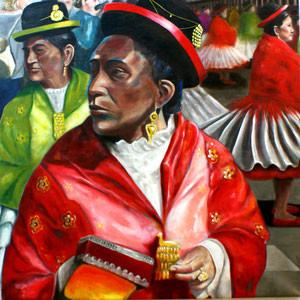 Parada Sucre, Bolivien, Acryl und Öl auf Nessel, 140 x 140 cm