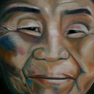 Khmu, Laos, Öl auf Leinwand, 40 x 40 cm