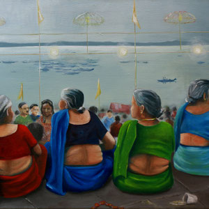 Ghats Varanasi, Indien,  Acryl und Öl auf Nessel, 80 x 60 cm