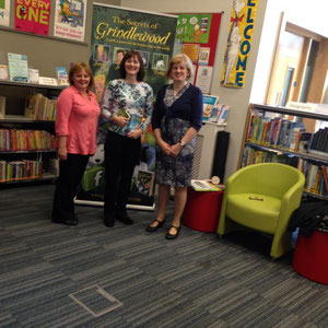 Jackie Burke, author of The Secrets of Grindlewood series for children visits library