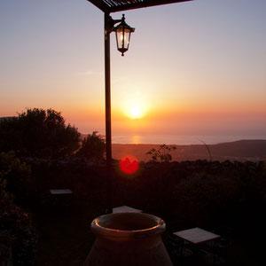 Sonnenuntergang auf der Terrasse des Palazzu di Pigna
