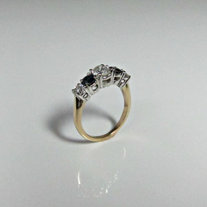DF 10 - 14K two tone gold ring 3/4 view.