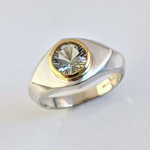 G 23 - 14K sterling silver ring with green amethyst set in14K yellow gold bezel .