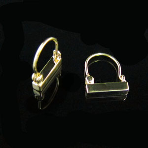 E 7 - 14k yellow gold simple bar earrings.