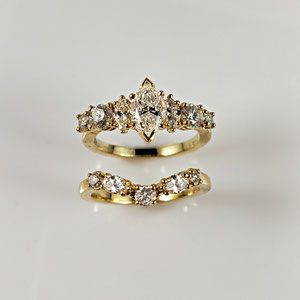 BA 26 After - The finished project - 14K yellow gold wedding set.