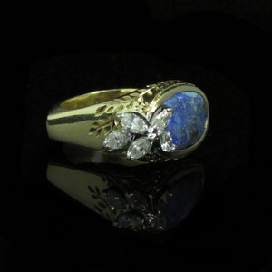 CS 8 - 14K yellow gold ring with boulder opal and marquise cut diamonds.