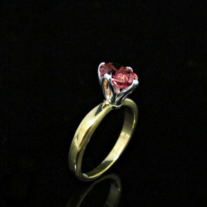 CS 45 - 14K two toned tulip style setting ring with pink tourmaline.