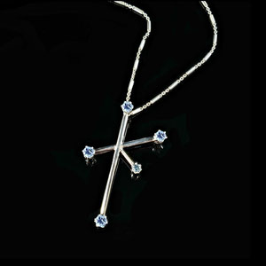 P 119 - 14K White gold pendant with aquamarines.  Modeled after the Crux Constellation - the Southern Cross.