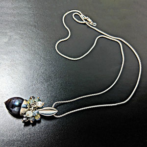 P 115 - 'Acorn' pend. With white pearl, aqua and hematite beads teal/black pearl.