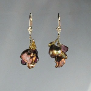 E 23 - 14K yellow gold earrings with citrine, pearls, and rhodolite garnets.