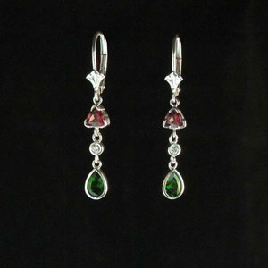 E 20 - 14K white gold dangle earrings with diamonds, rhodolite garnet, and chrome diopside.