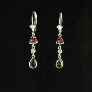 E 20 - 14K white gold dangle earrings with diamonds, rhodolite garnet, and chrome diopside.