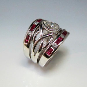 DF 32 - 14K white gold woven ring with pear shaped diamond.  Two 14K white gold bands with round diamond melee and ruby baguettes.