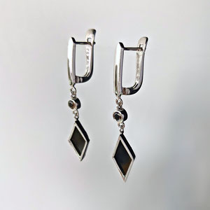 E 110 - 14K white gold earrings with black diamonds and black onyx.  18K lever backs.