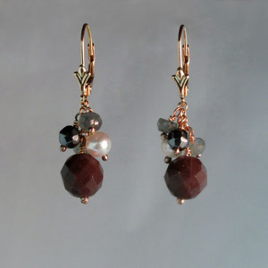 E 1 - 14K rose gold with aquamarine, hematite, pearl, and garnet bead dangle earrings.