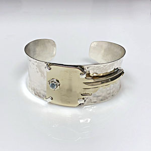 BR 17 - Sterling silver cuff bracelet incorporating the key to customer's family home.