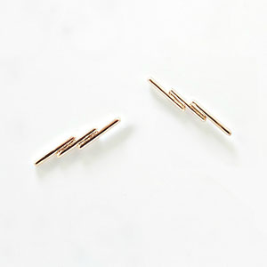 E 120 - 14K yellow and rose gold earrings - 3 bar lightening bolt.