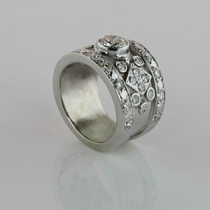 WF 3 - 14k white gold ring with bezel set center diamond and bead set melee diamonds.