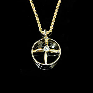 P79  - 14K yellow gold rope chain with pendant - made from a wedding ring and engagement ring.