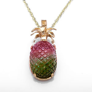 P 6 - 14K green, rose, and yellow gold pendant with carved watermelon tourmaline.