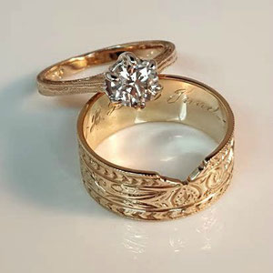WF 10 - 14K rose gold wedding set, with hand engraving.  The heirloom wedding band has been notched to nestle the diamond ring.