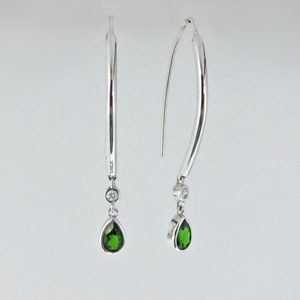 E 82 - 14K white gold earrings with chrome diopside and diamonds.