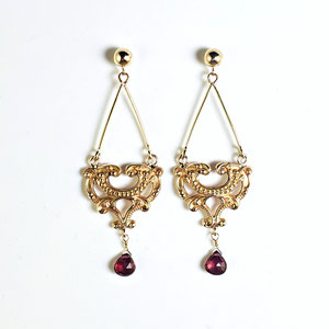 E 119 - 14K yellow dangle earrings - lavalier look with garnet briolette. They hang approximately 2 1/8 in