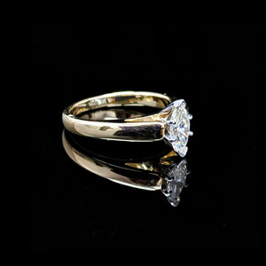 WF 33 - 14K two toned marquise diamond solitaire.