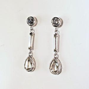 E 100 - 14K white gold dangle earrings with round diamonds, baguette diamonds, and pear shaped rose cut diamonds.