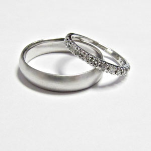 B 27 - 14K white gold wedding bands.