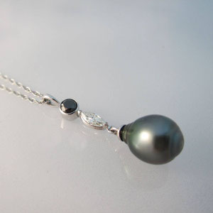 P 1 - 14K white gold pendant with south sea pearl, black diamond, and marquise cut diamond.